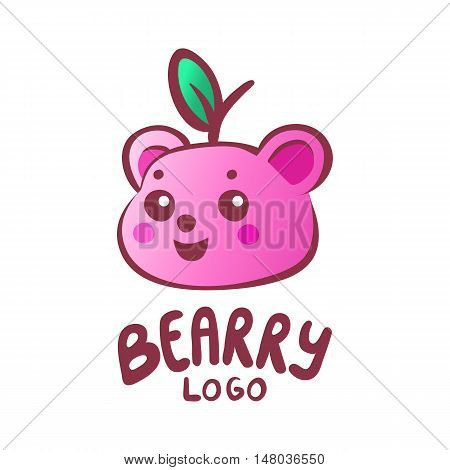 Child orientated small business logo bear head shaped fruit with a leaf. Pink smiling bear character isolated on white background. Gummy bear with natural fruit and berry juice logotype template.