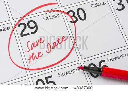 Save The Date Written On A Calendar - October 29
