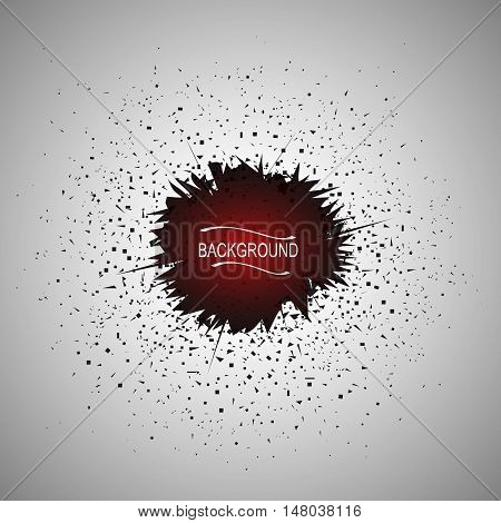 Abstract composition. Minimalistic fashion backdrop design. Brown explosion blot icon. Grunge spot font texture. Modern blur ad banner. Dirty cloud stain fiber. Smudge dust ornament. Stock vector