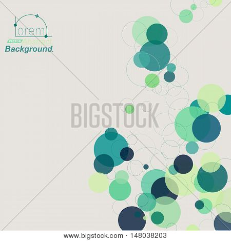Abstract composition. Minimalistic fashion backdrop design. Green circle form icon. Air bubble font texture. Modern ad banner. Round text frame fiber. Soap bulb parts banner ornament. Stock vector