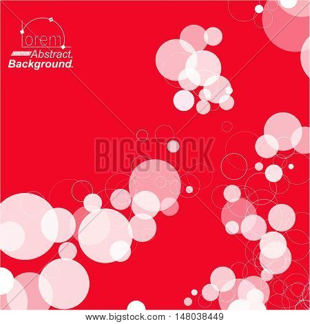 Abstract composition. Minimalistic fashion backdrop design. Red circle parts icon. Air bubbles font texture. Modern ad banner form. Round text frame fiber. Soap bulbs banner ornament. Stock vector