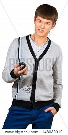 Teen male preppy listening to mp3 player