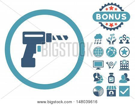 Drill icon with bonus images. Vector illustration style is flat iconic bicolor symbols, cyan and blue colors, white background.