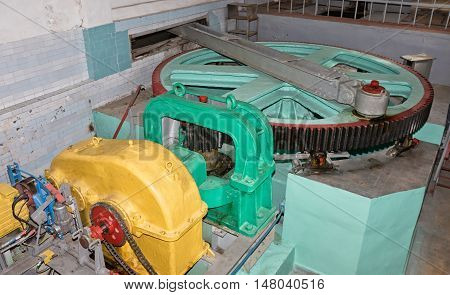 Engine Room Of The Gateway Of The Shipping Channel With Great Gear
