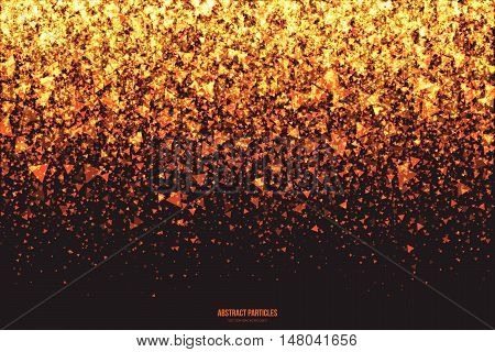 Abstract bright golden shimmer glowing triangular particles vector background. Scatter shine tinsel light explosion effect. Burning sparks wallpaper. Celebration, holidays and party illustration poster