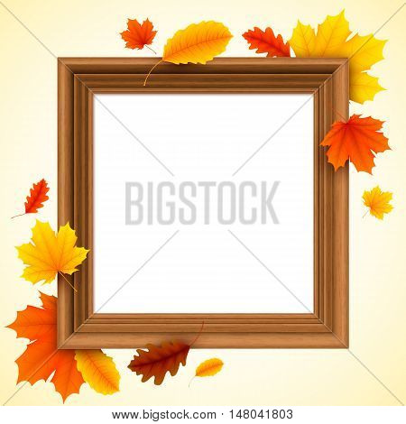 Brown vintage picture frame decorated with color autumn leaves