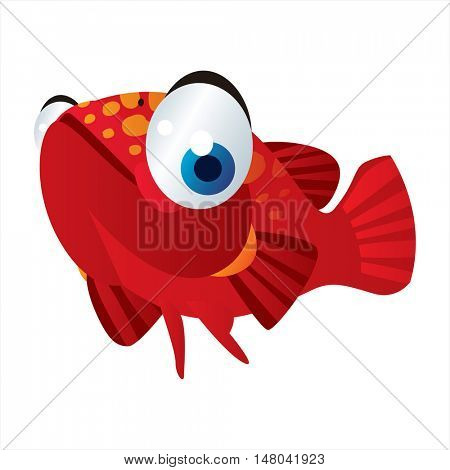 funny vector illustration of cute animal. Cartoon Sealife designs. Grouper fish