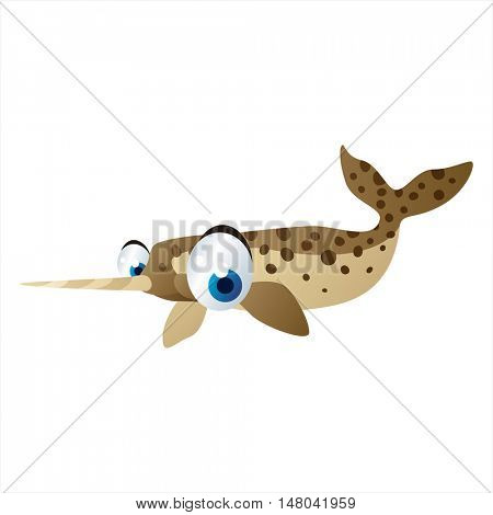 funny vector illustration of cute animal. Cartoon Narwhal