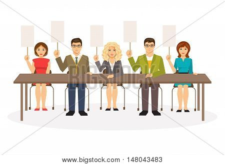 Illustration of a group of judges with tablets. Jury. Blank template for text