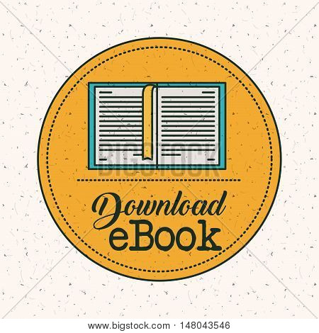 Ebook download inside seal stamp icon. Education elearning and technology theme. Colorful design. Vector illustration