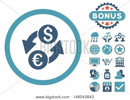 Euro Dollar Exchange icon with bonus pictures. Vector illustration style is flat iconic bicolor symbols cyan and blue colors white background.