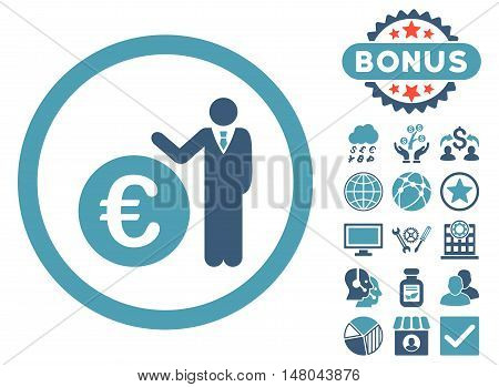 Euro Economist icon with bonus images. Vector illustration style is flat iconic bicolor symbols cyan and blue colors white background.