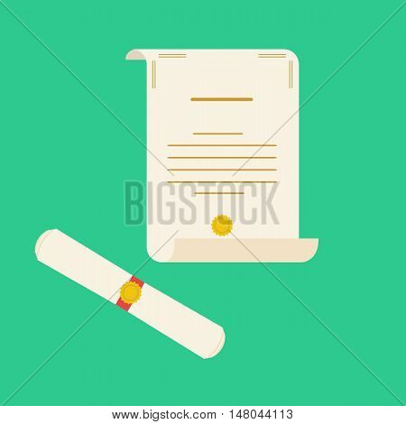 Unrolled and rolled diploma paper icon on green background