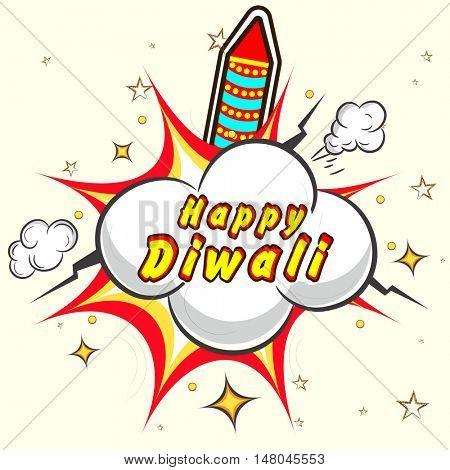Vector Rocket with pop art explosion, Creative illustration for Indian Festival of Lights, Happy Diwali Celebration.