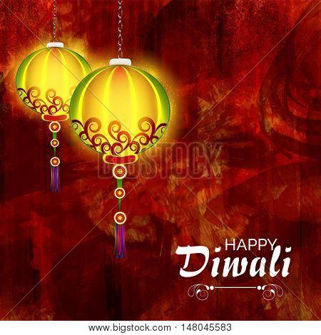 Glossy elegant, Diwali Lamps hanging on grunge paint stroke pattern, Vector illustration for Indian Festival of Lights Celebration.
