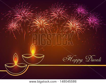 Elegant Illuminated Lit Lamps on sparkling fireworks background, Vector greeting card for Festival of Lights Celebration, Creative Diwali Concept.