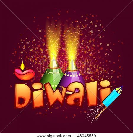 Glossy exploding Firecrackers on confetti decorated background with Lit Lamp and Text Diwali for Indian Festival of Lights Celebration, Vector greeting card design.