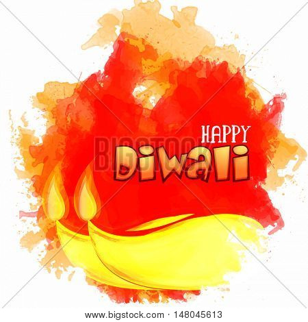 Vector colourful splash background with creative Illuminated Lit Lamps for Indian Festival of Lights, Happy Diwali Celebration.