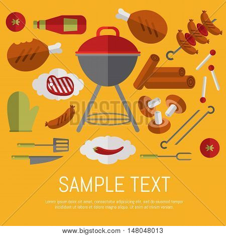 Vector illustration BBQ card. Barbecue grill, skewer of grilled sausages, ketchup, pepper, mushrooms, steak and grill tools on yellow background. Food banner. BBQ party invitation in flat style. BBQ grill icons. Bbq kettle icon.