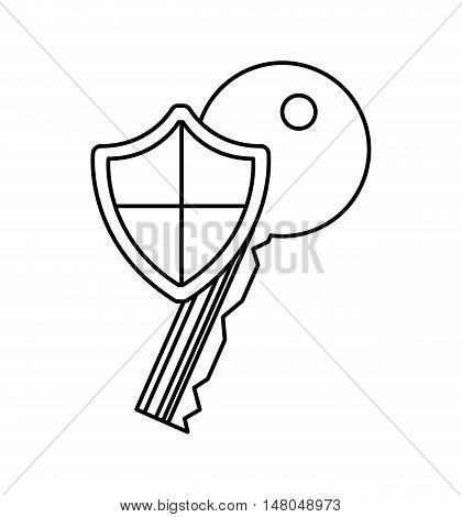 shield security system flat icon vector illustration design