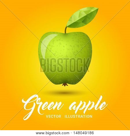 Realistic green apple on bright yellow background - vector illustration. Big green apple with bright green leaf. Granny smith apple on simple yellow background.