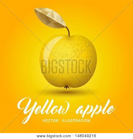 Realistic yellow apple on bright yellow background - vector illustration. Big yellow apple with bright golden leaf.
