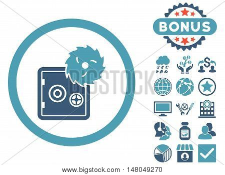 Hacking Theft icon with bonus pictures. Vector illustration style is flat iconic bicolor symbols, cyan and blue colors, white background.