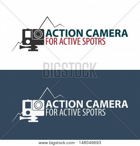 Action camera logo. Camera for active sports. Ultra HD. 4K