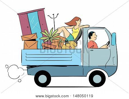 Family moved to another location. Cartoon illustration of moving concept. Man and woman riding in the truck with clothes and boxes vector illustration.