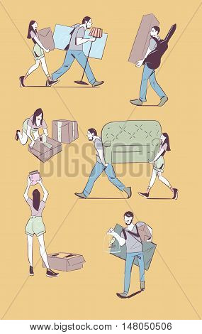 Moving home concept vector illustration. Young couple making a move new home. Sketches on moving. Hand drawing.