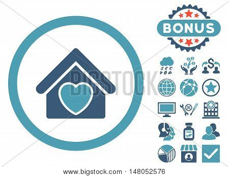 Hospice icon with bonus elements. Vector illustration style is flat iconic bicolor symbols cyan and blue colors white background.