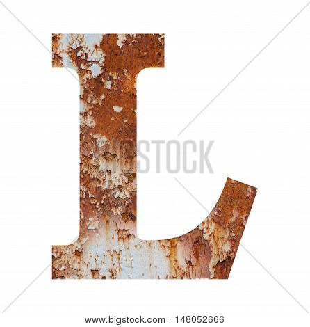 Old rusty metal alphabet text L isolated over the white background
