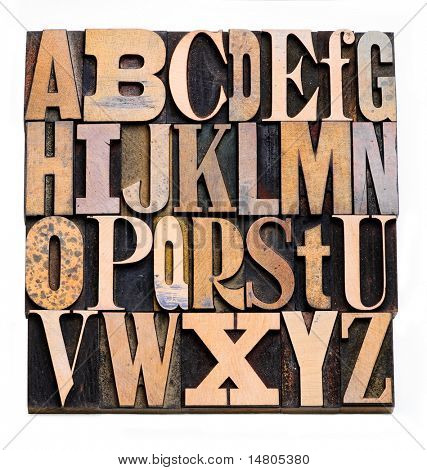 Zufällige hölzerne Letterpress-Alphabet