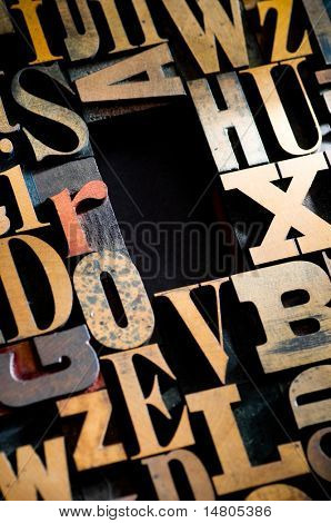 A random selection of wooden letterpress characters as a background, narrow focus, room for copy or headline