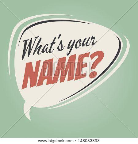 what's your name retro speech balloon