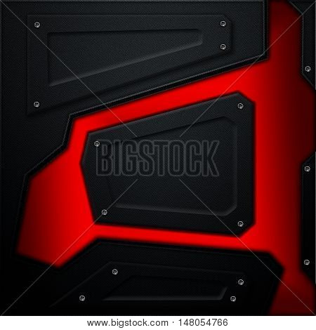 scifi wall. black carbon fiber wall with red metallic. metal background and texture 3d illustration. technology concept.