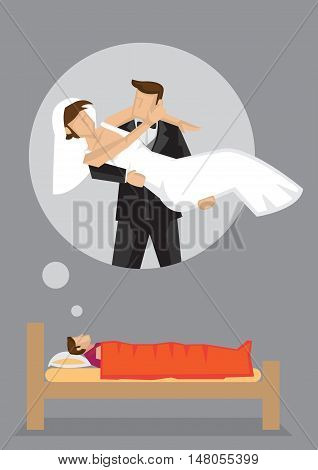 Single man lying on bed dreaming about his bride and wedding. Vector cartoon illustration on wedding desire concept theme.