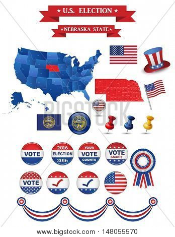 US Presidential Election 2016. Nebraska State Including High Detailed Map of Nebraska Perfect for Election Campaign