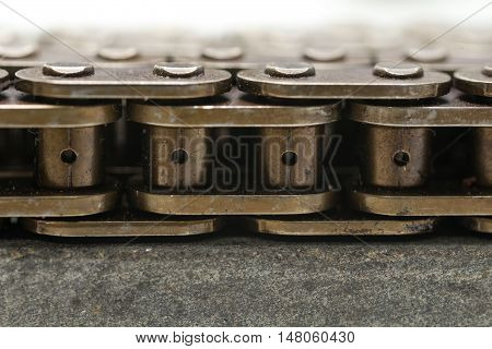 engine chain Close up steel background .