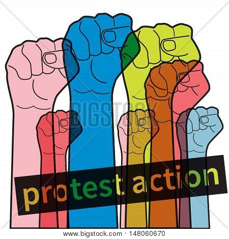 Vector flat symbol of protest. Hands clenched into fist and raised up. Concept of strikes and demonstrations. Protesting aggressive crowd.