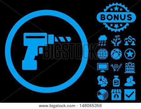 Drill icon with bonus pictogram. Vector illustration style is flat iconic symbols blue color black background.