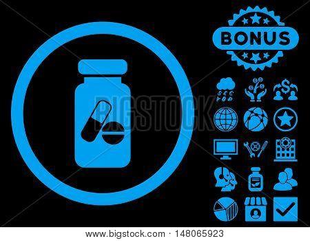 Drugs Phial icon with bonus elements. Vector illustration style is flat iconic symbols blue color black background.