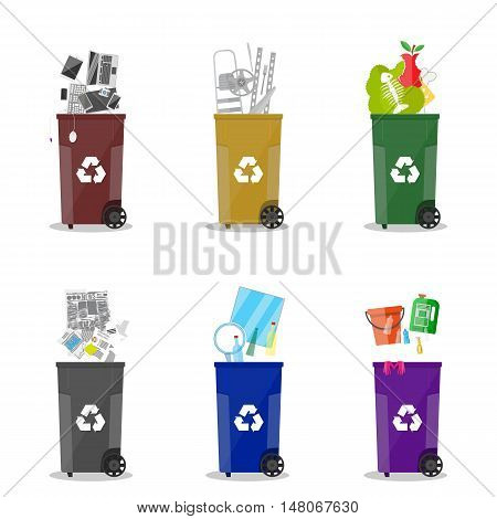 Waste management. Waste segregation. Separation of waste on garbage cans. Sorting waste for recycling. Colored waste bins with trash. Metal, glass, e-waste, plastic, paper, organic. flat vector