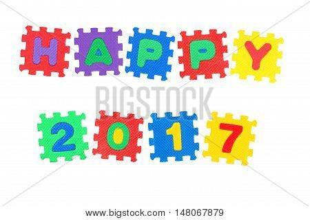 Message Happy 2017. from letters puzzle isolated on white background.