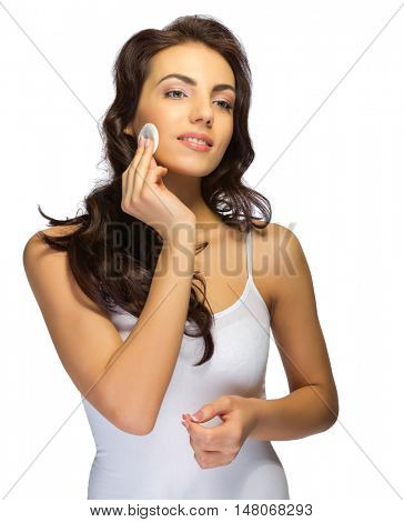 Young woman with wadded disk isolated