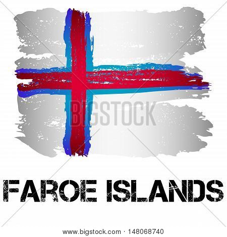 Flag of Faroe Islands from brush strokes in grunge style isolated on white background. Europe autonomy within Denmark. Vector illustration