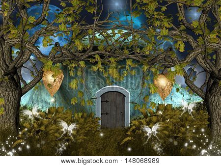 Fantasy elves house in the middle of the forest poster