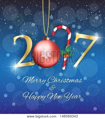 Golden New year 2017 sign with candycane holy leaves and red glass ball at blue abstract background with snow. Vector illustration. idea for greetings card