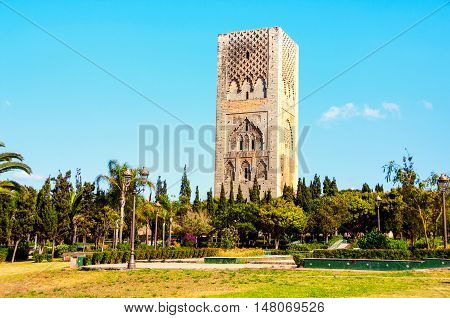 Hassan tower in the square with stone columns. Made of red sandstone, important historical and tourist complex in Rabat, Morocco