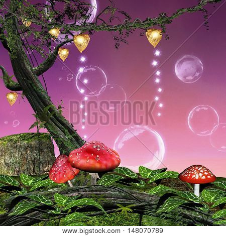 Forest background with red mushrooms and soap bubbles